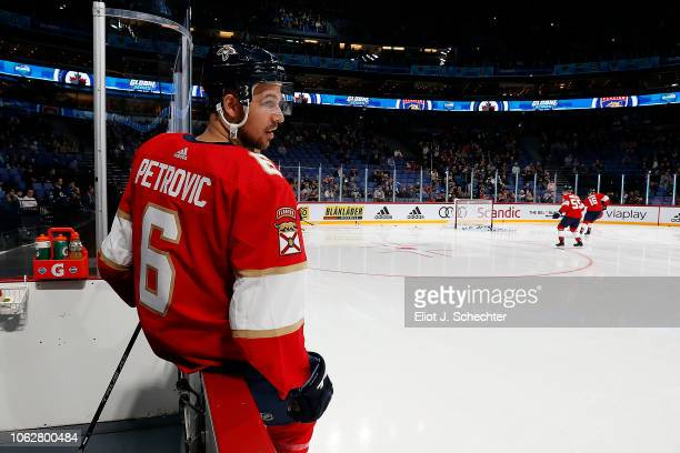 Alex Petrovic of the Florida Panthers heads out to the ice for warm ups against the the Winnipeg Jets in the 2018 NHL Global Series at the Hartwall...