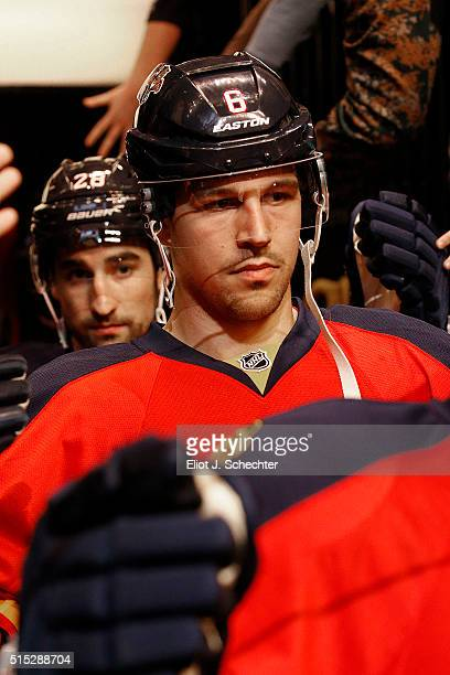 Alex Petrovic of the Florida Panthers heads out to the ice prior to the start of the game against the Arizona Coyotes at the BBT Center on February...