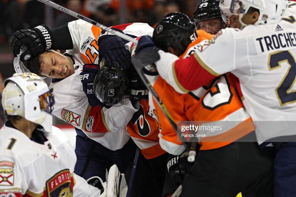 Alex Petrovic #6 of the Florida Panthers is shoved by Wayne Simmonds #17 of the Philadelphia Flyers as players push during the second period at Wells Fargo Center on October 17, 2017 in Philadelphia, Pennsylvania.