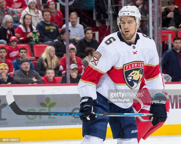 Alex Petrovic of the Florida Panthers looks down the ice against the Detroit Red Wings during an NHL game at Little Caesars Arena on January 5 2017...