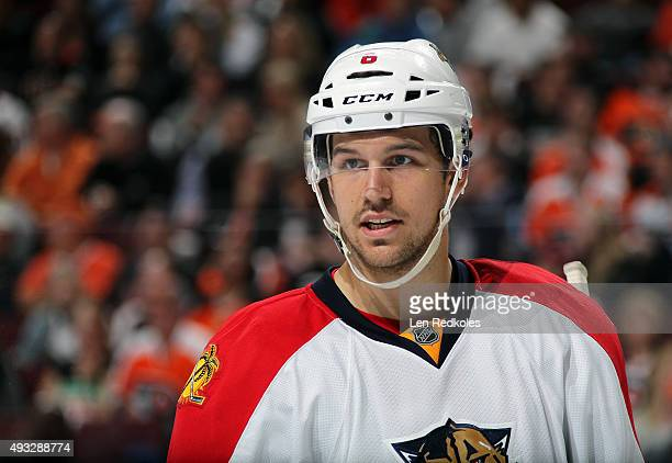 Alex Petrovic of the Florida Panthers looks on durinng a stoppage in play against the Philadelphia Flyers on October 12 2015 at the Wells Fargo...