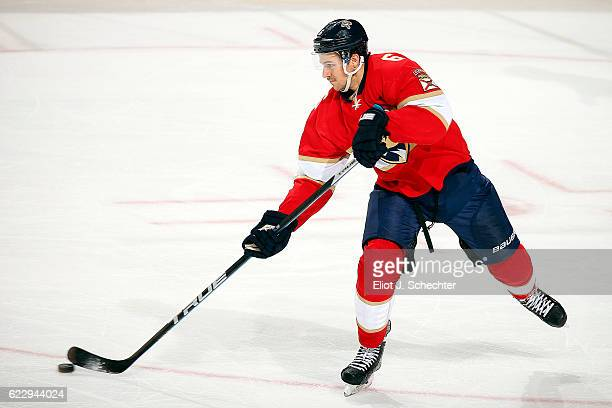 Alex Petrovic of the Florida Panthers passes the puck against the San Jose Sharks at the BBT Center on November 10 2016 in Sunrise Florida