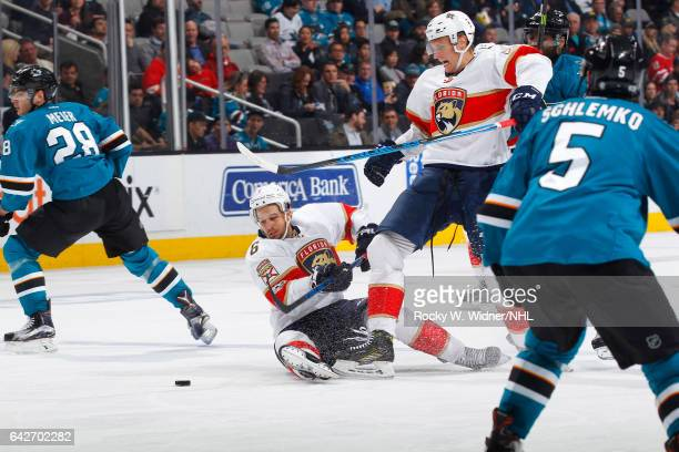 Alex Petrovic of the Florida Panthers skates after the puck against the San Jose Sharks at SAP Center on February 15 2017 in San Jose California