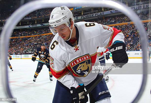 Alex Petrovic of the Florida Panthers skates against the Buffalo Sabres during an NHL game at the KeyBank Center on October 29 2016 in Buffalo New...