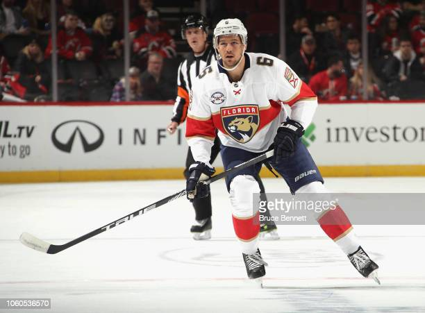 Alex Petrovic of the Florida Panthers skates against the New Jersey Devils at the Prudential Center on October 27 2018 in Newark New Jersey The...
