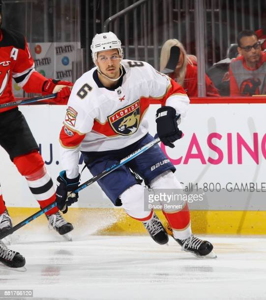Alex Petrovic of the Florida Panthers skates against the New Jersey Devils at the Prudential Center on November 27 2017 in Newark New Jersey The...