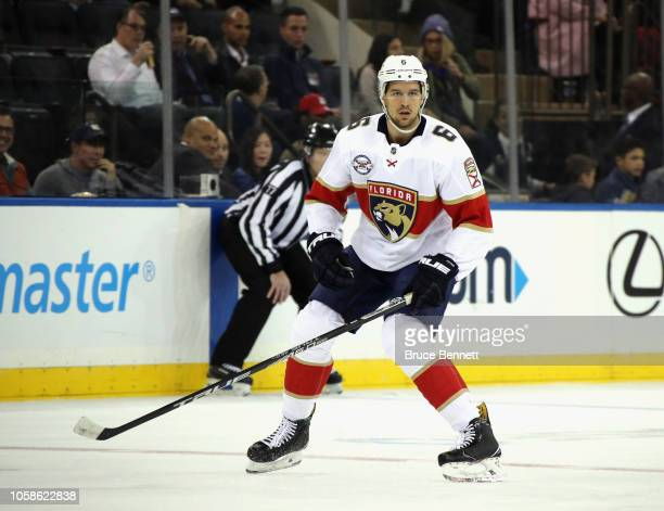 Alex Petrovic of the Florida Panthers skates against the New York Rangers at Madison Square Garden on October 23 2018 in New York City The Rangers...