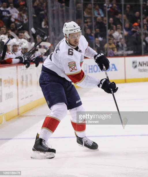 Alex Petrovic of the Florida Panthers skates against the New York Islanders at the Barclays Center on October 24 2018 in the Brooklyn borough of New...