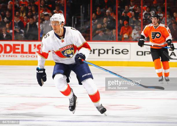 Alex Petrovic of the Florida Panthers skates against the Philadelphia Flyers at the Wells Fargo Center on March 2 2017 in Philadelphia Pennsylvania...