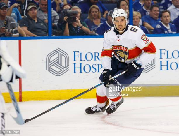 Alex Petrovic of the Florida Panthers skates against the Tampa Bay Lightning at Amalie Arena on October 6 2017 in Tampa Florida n