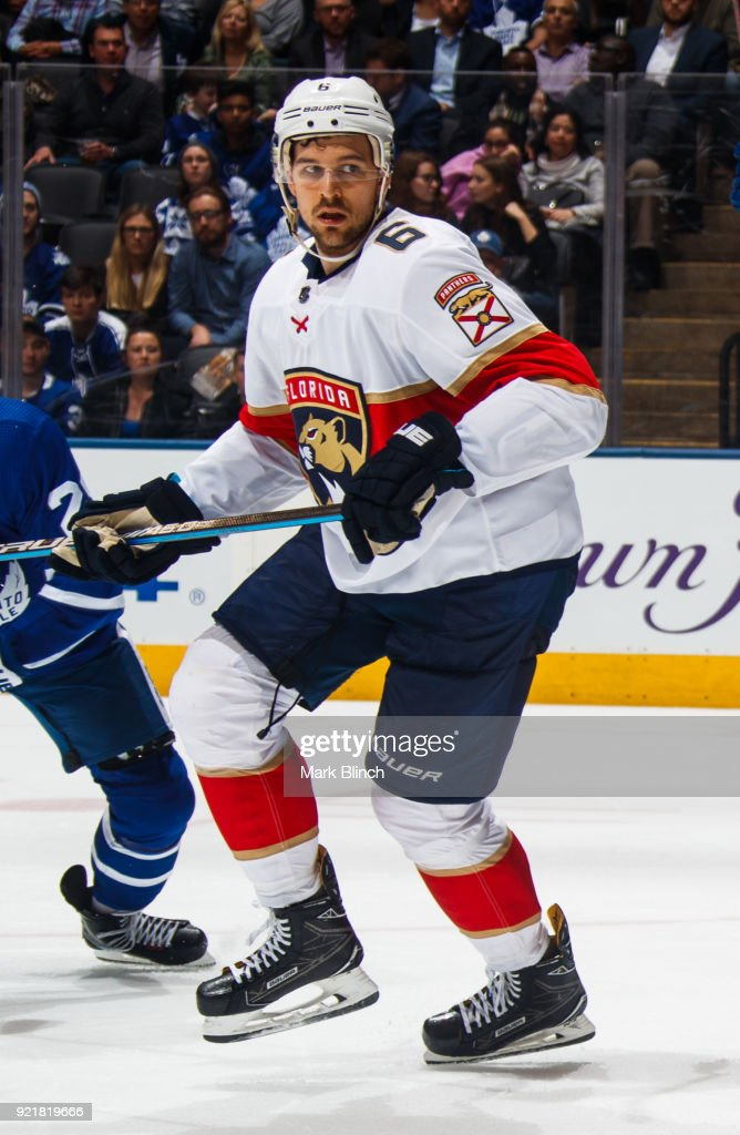 Alex Petrovic #6 of the Florida Panthers skates against the Toronto Maple Leafs during the third period at the Air Canada Centre on February 20, 2018 in Toronto, Ontario, Canada.