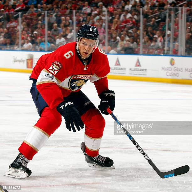 Alex Petrovic of the Florida Panthers skates for position against the Montreal Canadiens at the BBT Center on April 3 2017 in Sunrise Florida