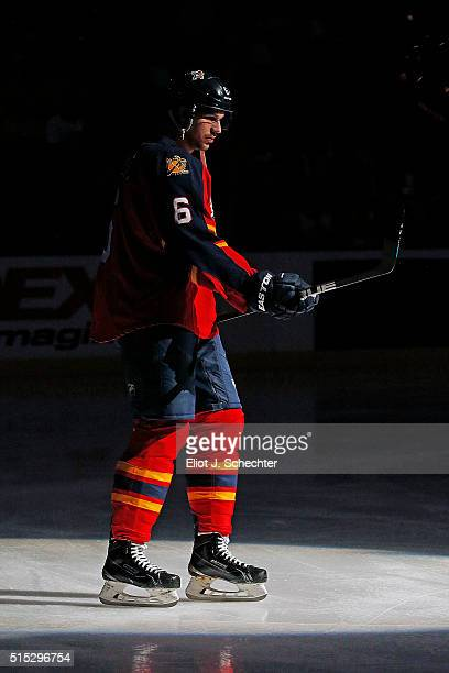 Alex Petrovic of the Florida Panthers skates on the ice prior to the start of the game against the Nashville Predators at the BBT Center on February...