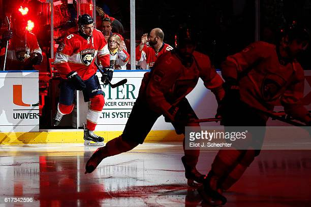 Alex Petrovic of the Florida Panthers skates out onto the ice with teammates prior to the start of the game against the Washington Capitals at the...