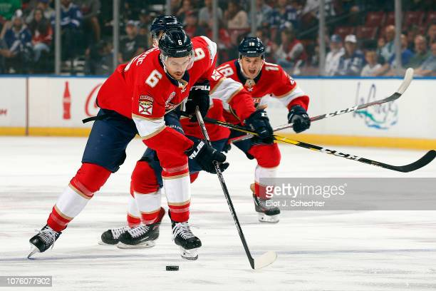 Alex Petrovic of the Florida Panthers skates with the puck against the Tampa Bay Lightning at the BBT Center on December 1 2018 in Sunrise Florida