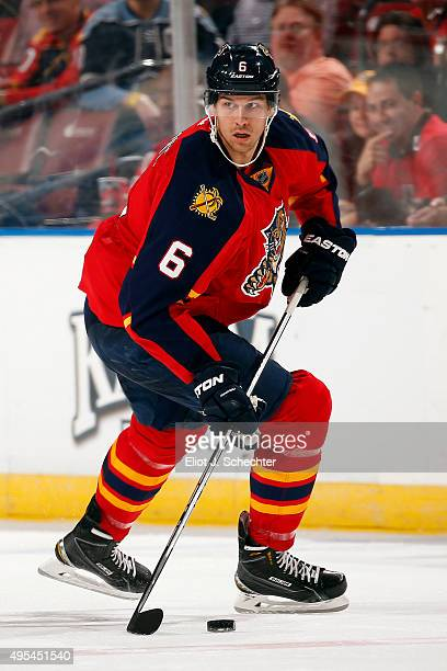 Alex Petrovic of the Florida Panthers skates with the puck against the Washington Capitals at the BBT Center on October 31 2015 in Sunrise Florida