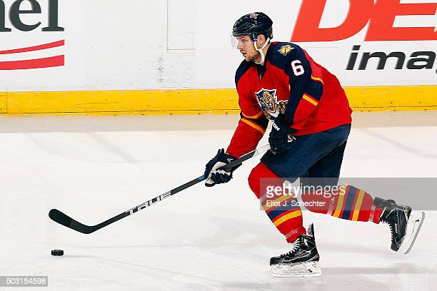 Alex Petrovic of the Florida Panthers skates with the puck against the Columbus Blue Jackets at the BBT Center on December 27 2015 in Sunrise Florida