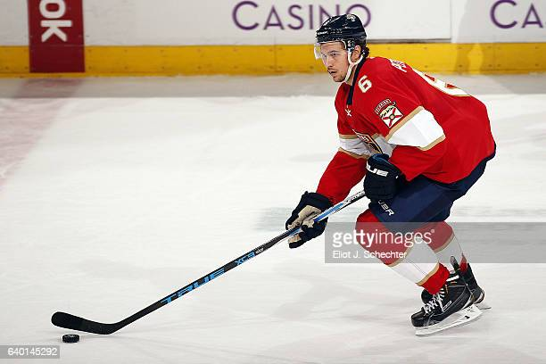 Alex Petrovic of the Florida Panthers skates with the puck against the Tampa Bay Lightning at the BBT Center on January 26 2017 in Sunrise Florida