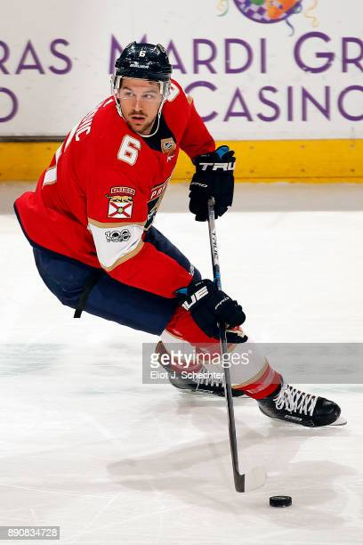Alex Petrovic of the Florida Panthers skates with the puck against the Colorado Avalanche at the BBT Center on December 9 2017 in Sunrise Florida