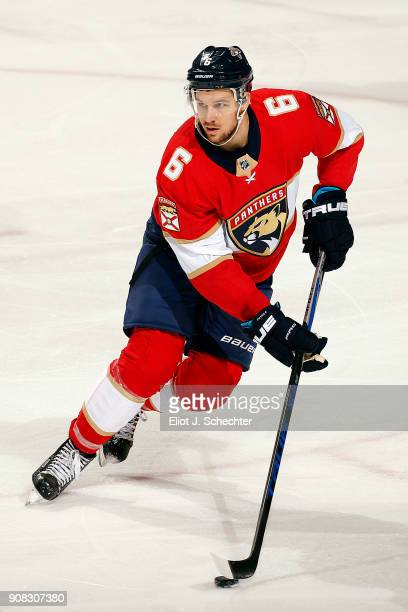 Alex Petrovic of the Florida Panthers skates with the puck against the Vegas Golden Knights at the BBT Center on January 19 2018 in Sunrise Florida
