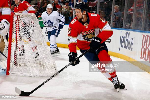 Alex Petrovic of the Florida Panthers skates with the puck against the Toronto Maple Leafs at the BBT Center on February 27 2018 in Sunrise Florida