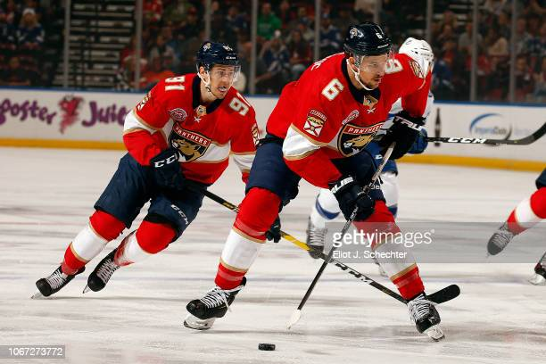 Alex Petrovic of the Florida Panthers skates with the puck during first period action agains the Tampa Bay Lightning at the BBT Center on December 1...