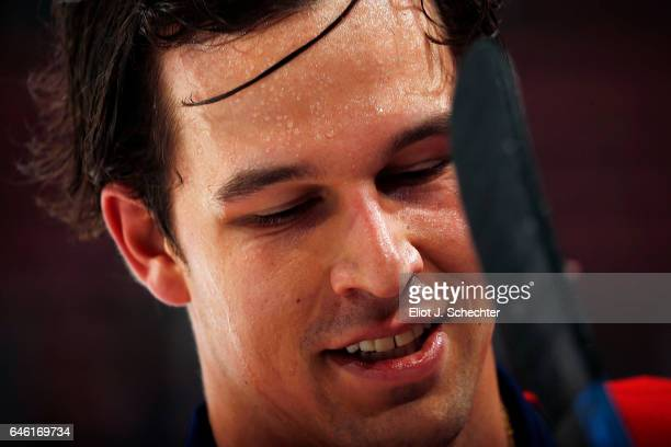 Alex Petrovic of the Florida Panthers smiles on the ice for warm ups prior to the start of the game against the Ottawa Senators at the BBT Center on...