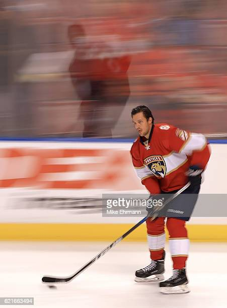 Alex Petrovic of the Florida Panthers warms up during a game against the Tampa Bay Lightning at BBT Center on November 7 2016 in Sunrise Florida