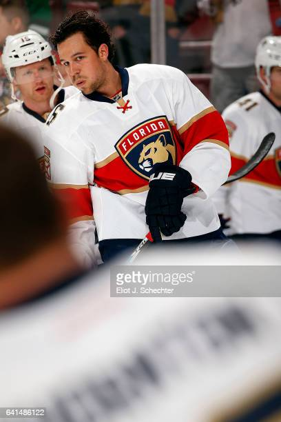 Alex Petrovic of the Florida Panthers warms up on the ice against the Los Angeles Kings at the BBT Center on February 9 2017 in Sunrise Florida