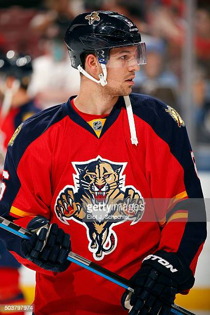 Alex Petrovic of the Florida Panthers warms up on the ice prior to the start of the game against the Minnesota Wild at the BBT Center on January 3...