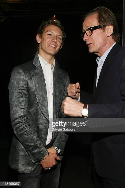 Alex Pettyfer and Bill Nighy during The Weinstein Company's Premiere of Alex Ryder Operation Stormbreaker After Party at The Intrepid Sea Air Space...