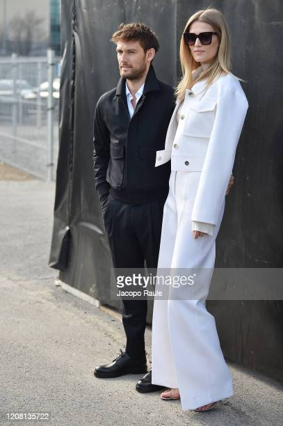 Alex Pettyfer and Toni Garrn arrive at the Boss fashion show on February 23 2020 in Milan Italy