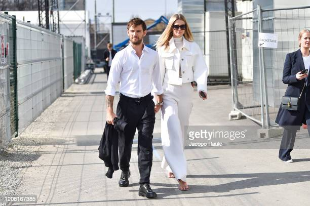 Alex Pettyfer and Toni Garrn attend the Boss fashion show on February 23 2020 in Milan Italy