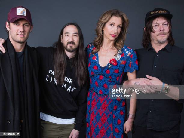 Alex Pettyfer Steve Aoki Alysia Reiner and Norman Reedus pose for a portrait during the Jury Welcome Lunch 2018 Tribeca Film Festival at Tribeca Film...