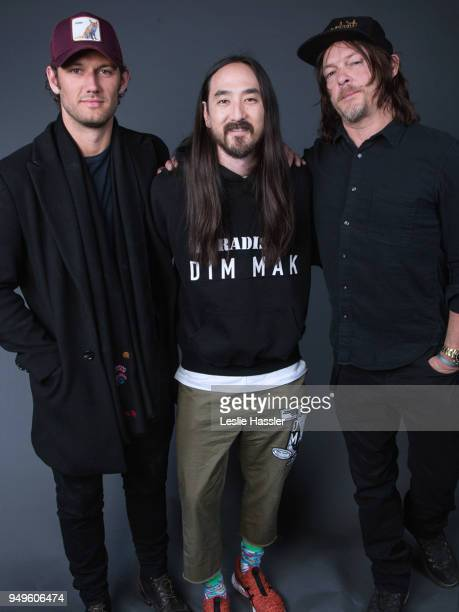 Alex Pettyfer Steve Aoki and Norman Reedus pose for a portrait during the Jury Welcome Lunch 2018 Tribeca Film Festival at Tribeca Film Center on...