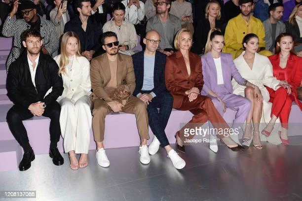 Alex Pettyfer Toni Garrn Mark Langer Amber Valletta Cara Delevingne Ashley Benson and Madelaine Petsch attend the Boss fashion show on February 23...
