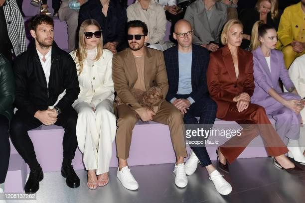 Alex Pettyfer Toni Garrn Orlando Bloom Mark Langer Amber Valletta and Cara Delevingne attend the Boss fashion show on February 23 2020 in Milan Italy