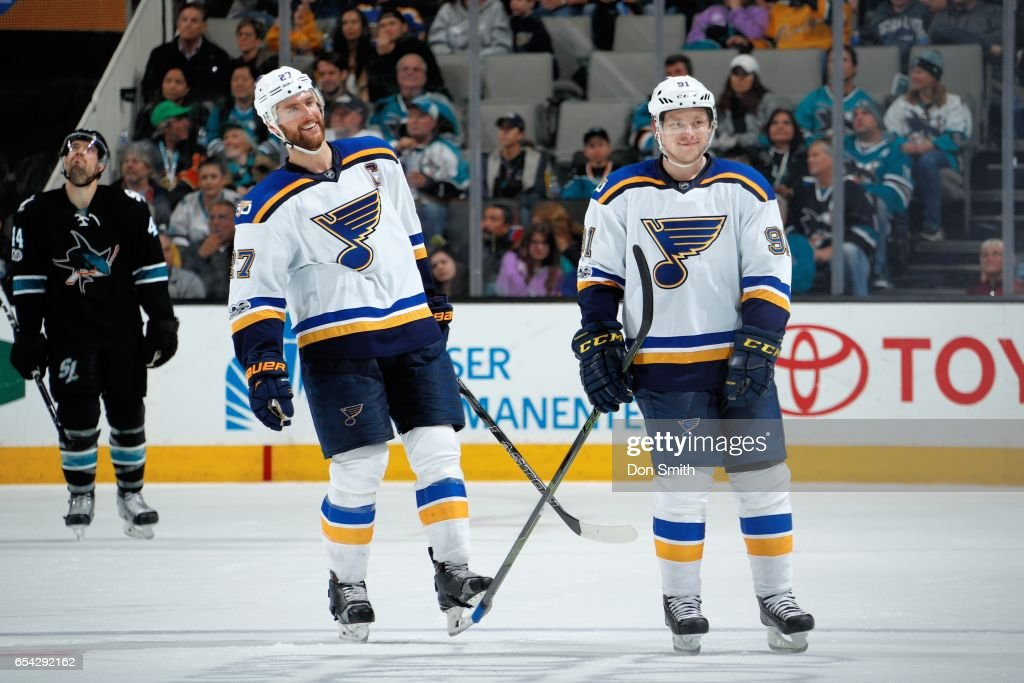 Alex Pietrangelo #27 and Vladimir Tarasenko #91 of the St. Louis Blues skate away smiling after Tarasenko scores a goal in the third period of a NHL game against the San Jose Sharks at SAP Center at San Jose on March 16, 2017 in San Jose, California.