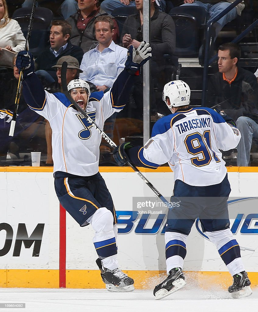 Alex Pietrangelo #27 celebrates a goal with Vladimir Tarasenko #91 of the St. Louis Blues against the Nashville Predators during an NHL game at the Bridgestone Arena on January 21, 2013 in Nashville, Tennessee.
