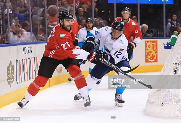 Alex Pietrangelo of Team Canada battles for the puck with Marian Gaborik of Team Europe during the World Cup of Hockey 2016 at Air Canada Centre on...