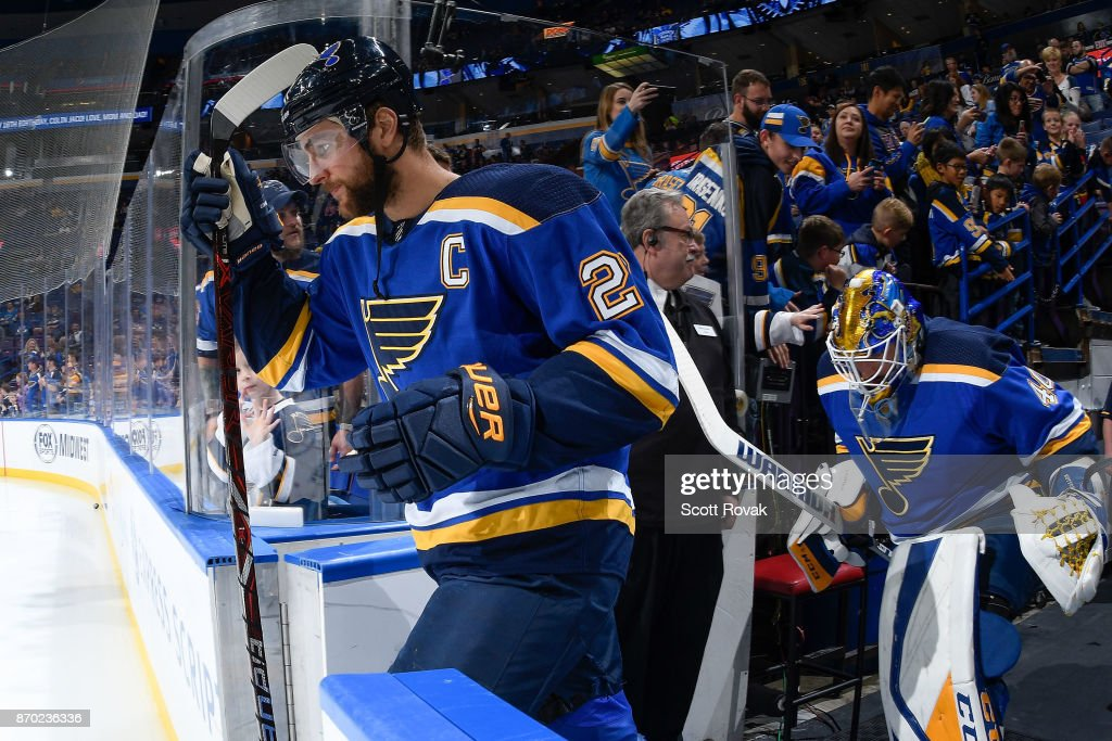 Alex Pietrangelo 27 Of The St Louis Blues And Carter Hutton 40