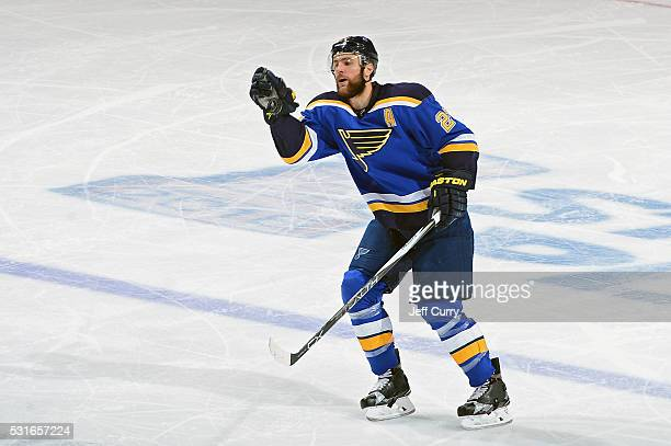 Alex Pietrangelo of the St Louis Blues catches a puck in Game One of the Western Conference Final during the 2016 NHL Stanley Cup Playoffs against...