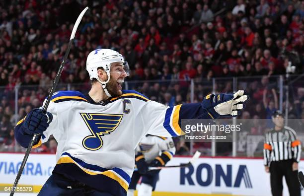 Alex Pietrangelo of the St Louis Blues celebrates a goal against the Montreal Canadiens in the NHL game at the Bell Centre on February 11 2017 in...