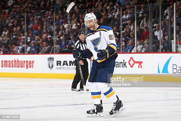 Alex Pietrangelo of the St Louis Blues celebrates after a goal against the Colorado Avalanche at the Pepsi Center on April 03 2016 in Denver Colorado