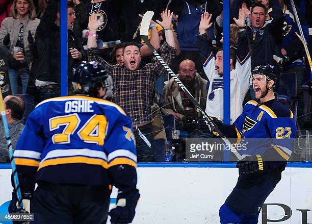 Alex Pietrangelo of the St Louis Blues celebrates after scoring the game tying goal against the Edmonton Oilers on November 28 2014 at Scottrade...