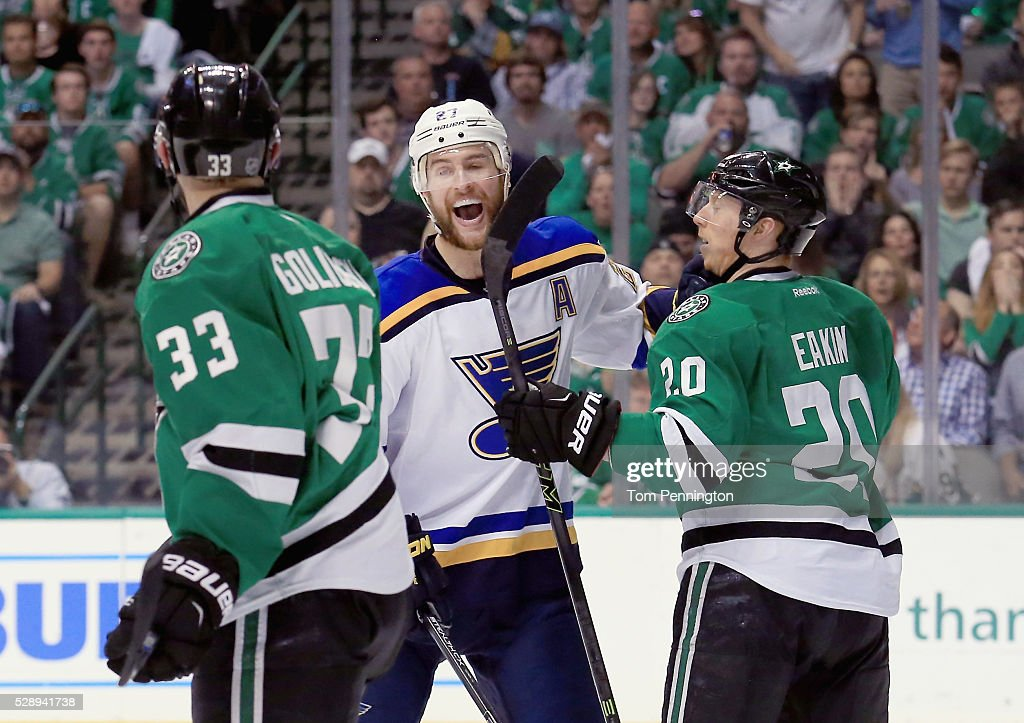 Alex Pietrangelo #27 of the St. Louis Blues celebrates as Alex Goligoski #33 of the Dallas Stars and Cody Eakin #20 of the Dallas Stars look on after the Blues scored a goal against the Stars in the second period in Game Five of the Western Conference Second Round during the 2016 NHL Stanley Cup Playoffs at American Airlines Center on May 7, 2016 in Dallas, Texas.