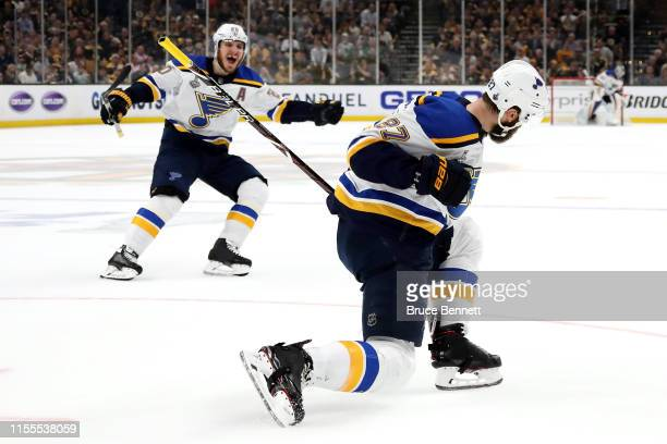 Alex Pietrangelo of the St Louis Blues celebrates his first period goal against the Boston Bruins in Game Seven of the 2019 NHL Stanley Cup Final at...