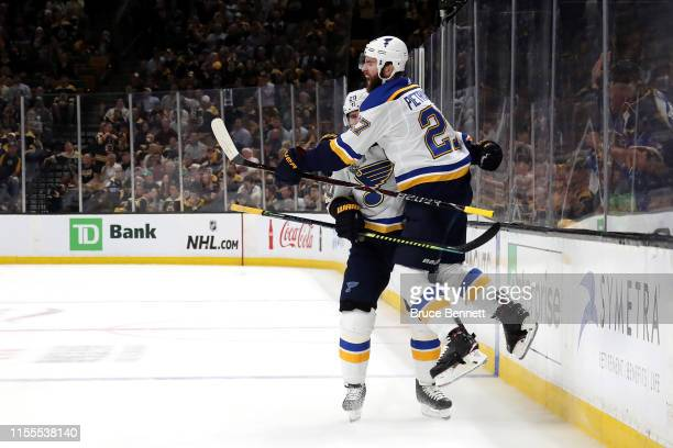 Alex Pietrangelo of the St Louis Blues celebrates his first period goal with teammate Alexander Steen against the Boston Bruinsin Game Seven of the...