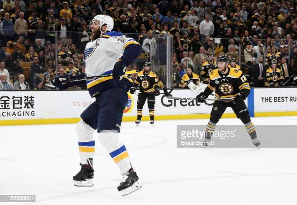 Alex Pietrangelo of the St. Louis Blues celebrates his first period goal against the Boston Bruins in Game Seven of the 2019 NHL Stanley Cup Final at...