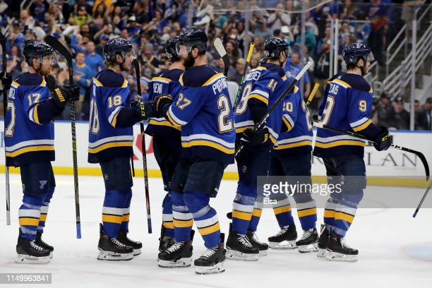 Alex Pietrangelo of the St. Louis Blues celebrates with his teammates after defeating the San Jose Sharks in Game Four of the Western Conference...